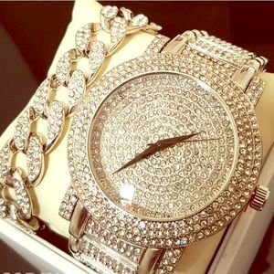 White Gold Luxury Watch & Bracelet Iced Out New